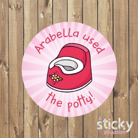 Personalised Potty Training Stickers - Pink Design